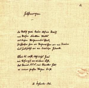 Rukopis básně Podzimní ráno z roku 1926